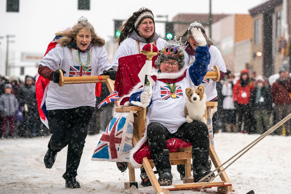 Team Brrr-Exit competes in the Fur Rondezvous outhouse races on Saturday, Feb. 29, 2020 in Anchorage. (Loren Holmes / ADN)