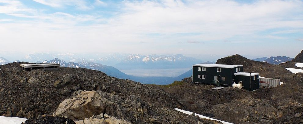 The house in which nordic skiers stay during their summer training sessions on Eagle Glacier overlooks Girdwood and Turnagain Arm on Monday. (Scott Jensen / Alaska Dispatch News)