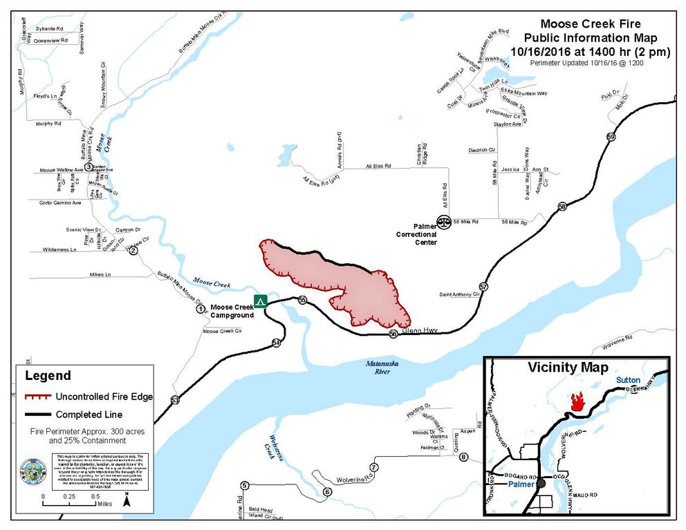 A map depicting the size and containment of the Moose Creek fire burning in Mat-Su on Oct. 16, 2016. (Alaska Division of Forestry)