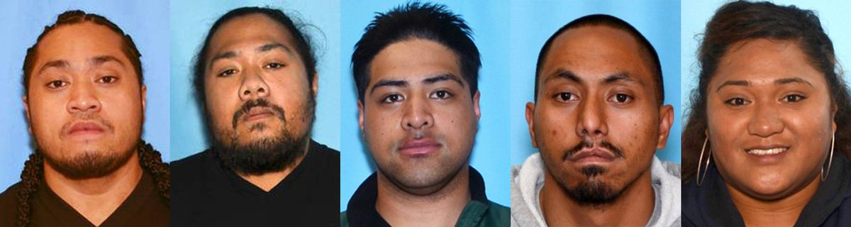 From left, Faamanu Vaifanua, 28, Macauther Vaifanua, 29, Rex Faumui, 24, Jeffrey Ahvan, 29, and Tamole Lauina, 21, were being sought in connection with an attack on a man who was beaten and placed in a dog kennel August 13, 2017. Only Ahvan was in custody Wednesday morning. (Courtesy Anchorage Police Department)