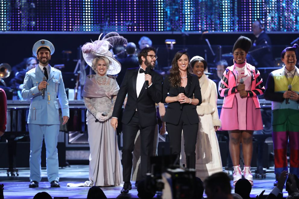 Josh Groban and Sara Bareilles host the 72nd Annual Tony Awards at Radio City Music Hall in New York, June 10, 2018. (Sara Krulwich/The New York Times)