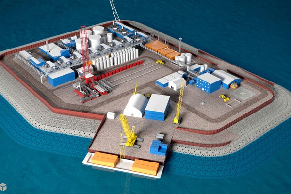 This undated illustration provided by Hilcorp Alaska Inc. shows a model of an artificial gravel island of the Liberty Project, a proposal to drill in Arctic waters from the artificial island. The first oil and gas production wells in federal Arctic waters have been approved by U.S. regulators. The Bureau of Ocean Energy Management on Wednesday, Oct. 24, 2018, announced it issued a conditional permit for the Liberty Project, a proposal by a subsidiary of Houston-based Hilcorp for production wells on an artificial island in the Beaufort Sea.(Hilcorp Alaska Inc. via AP, File)