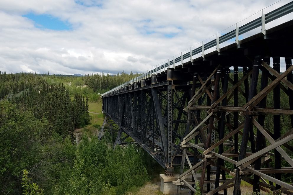 The Kuskulana Bridge at Milepost 17.2 is a single-lane structure originally built to support the Copper River and Northwestern Railway and now allows drivers access to McCarthy. (Erin Kirkland)