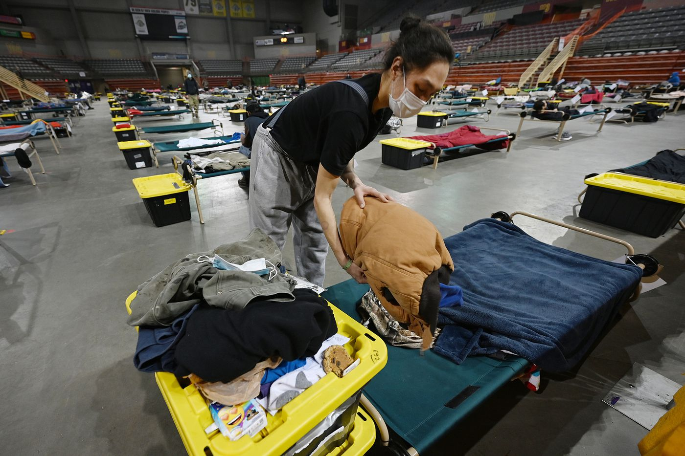 John Biesemeier, who works seasonally as a roofer, began staying at the mass emergency shelter at Sullivan Arena in January and has been receiving meals since Thanksgiving. Photographed on Wednesday, Feb. 24. (Bill Roth / ADN)