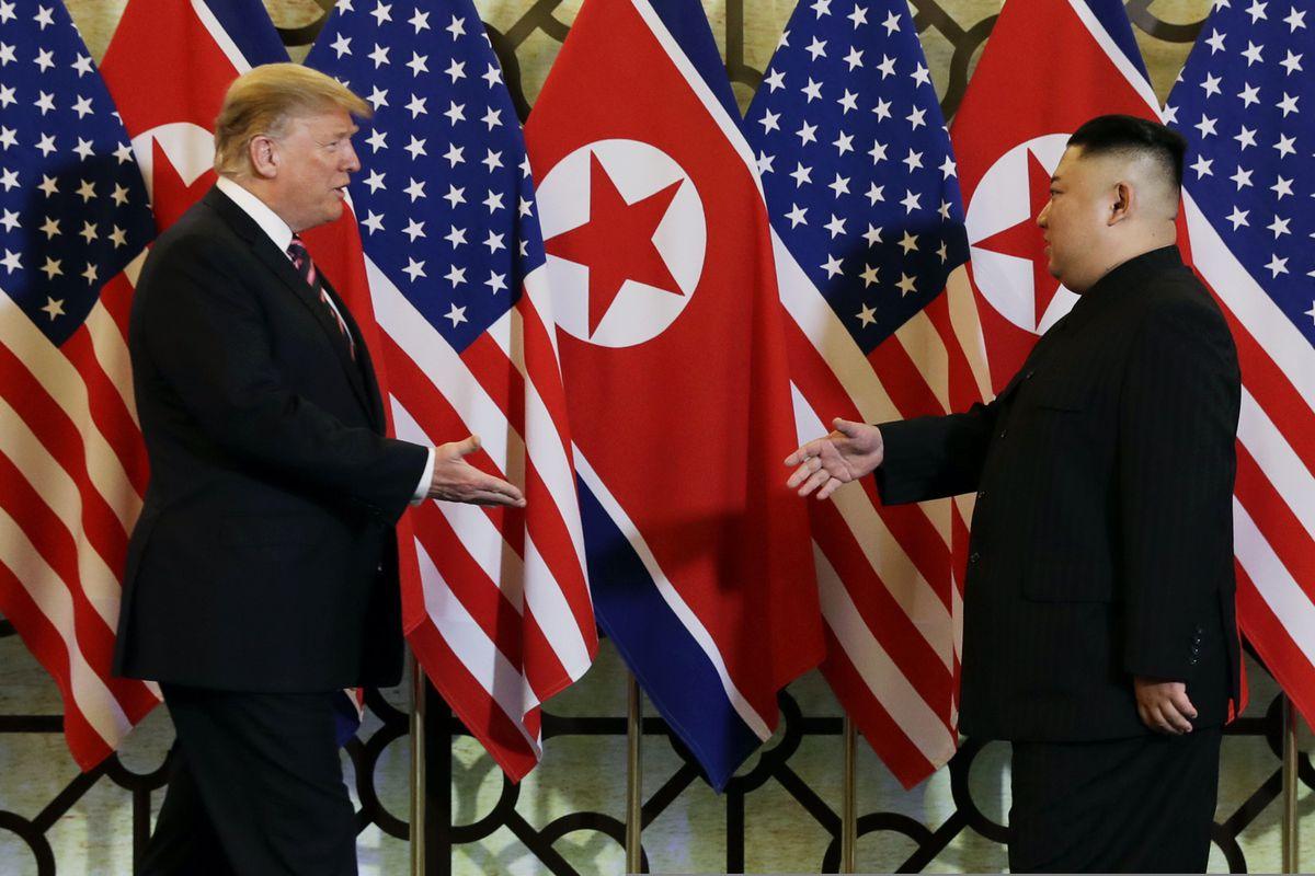 In this Feb. 27, 2019, file photo, President Donald Trump meets North Korean leader Kim Jong Un in Hanoi. (AP Photo/ Evan Vucci, File)