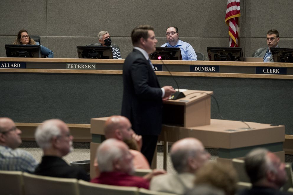 Dr. John Morris, homeless coordinator for Mayor-elect Dave Bronson, speaks to the Anchorage Assembly on June 15, 2021. (Marc Lester / ADN)