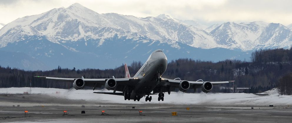 A Cargolux Boeing 747 freighter takes off from Ted Stevens Anchorage International Airport, the world's fifth busiest air cargo airport, on Sunday, March 17, 2019. (Bill Roth / ADN)