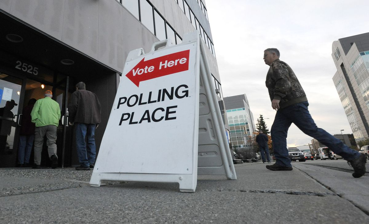 Voters enter the Region II Elections office at 2525 Gambell Street in Anchorage as early voting began for the general election on Monday, Oct. 22, 2018. (Bill Roth/ ADN)