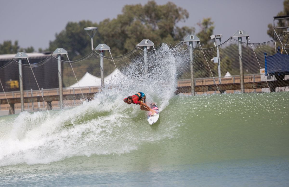 A surfer rides the wave during the first day of a world championship tour at California's Surf Ranch, a massive pool more than six football fields long. Photo for The Washington Post by Nick Otto