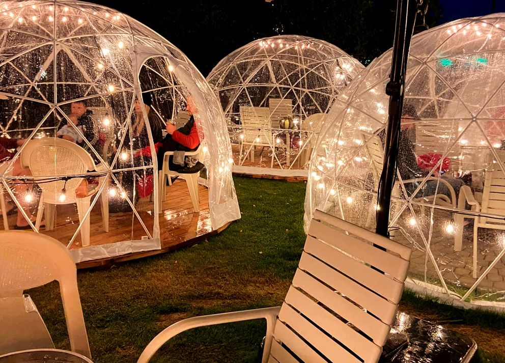 """Outdoor dining at the Inlet Tower Hotel is available in one of the """"Inlet Igloos."""" (Photo courtesy Inlet Tower Hotel)"""