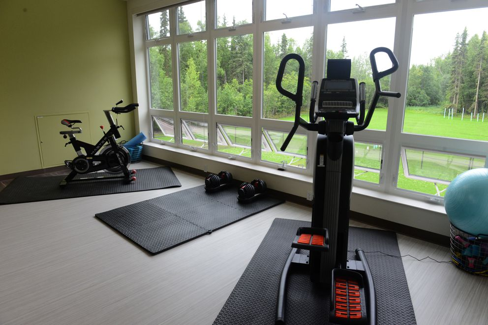 The exercise area at new Ernie Turner residential treatment center has a view of the lawn and forest. (Bob Hallinen / ADN)