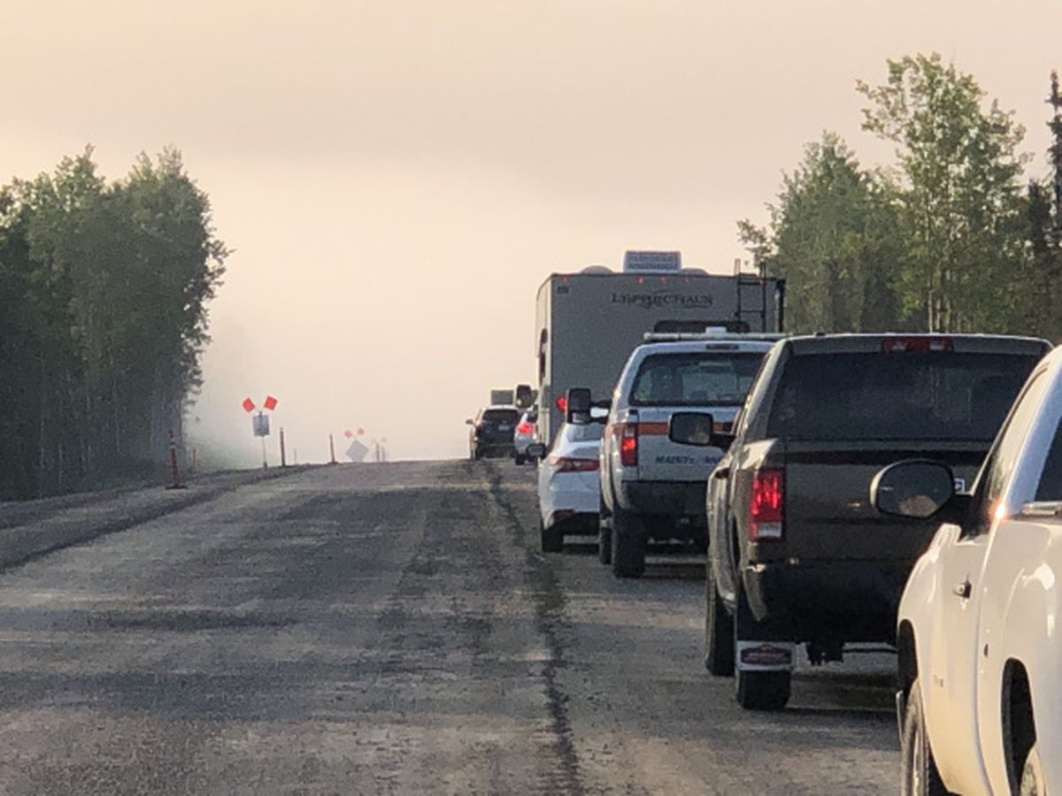 Heavy smoke from the 20,000 acre Swan Lake fire on the western Kenai Peninsula shut down a 7-mile portion of the Sterling Highway on June 21, 2019. (Photo courtesy Alaska Division of Forestry.)