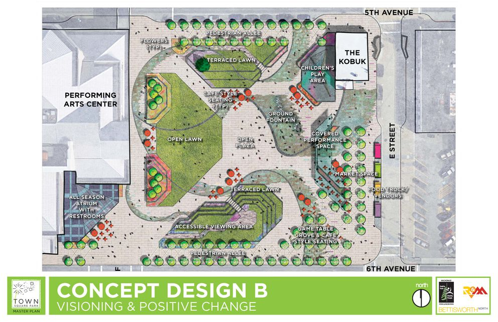 Town Square Master Plan concept design B (Provided by Municipality of Anchorage)
