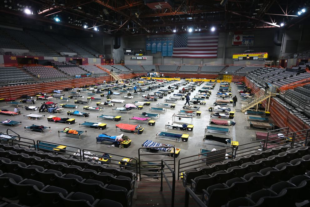 The emergency shelter at Anchorage's Sullivan Arena in February, 2021. (Bill Roth / ADN)