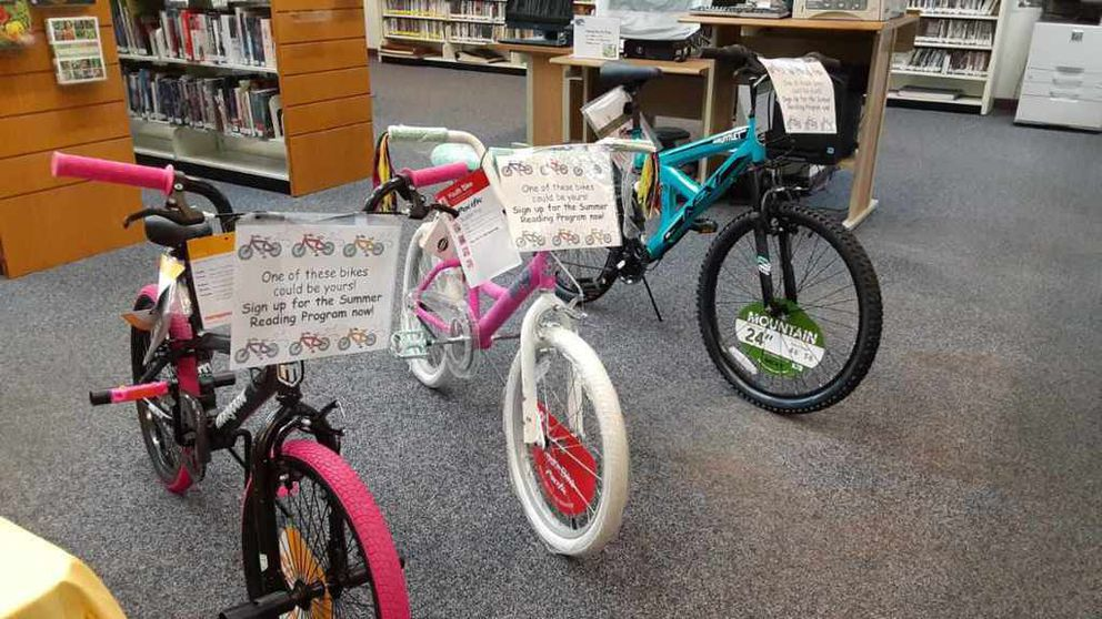 Bikes line up at the Big Lake Public Library as prizes for readers participating in the 2020 Summer Reading Challenge. (Anya Kean/Big Lake Public Library)