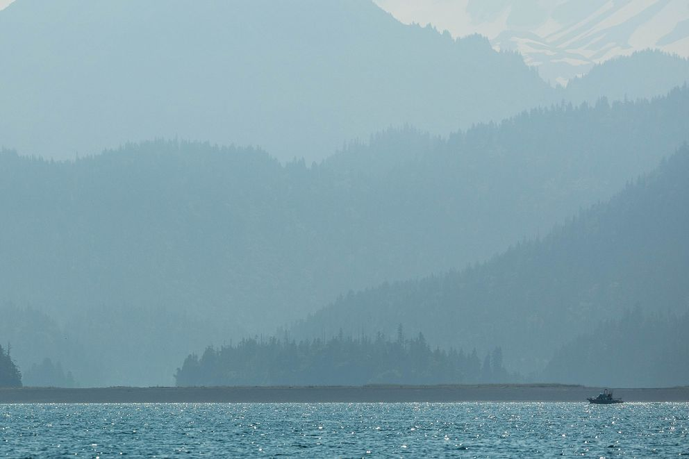 Smoke from the Swan Lake fire obscures mountains in Kachemak Bay south of Homer on Monday, July 8, 2019. (Loren Holmes photo)