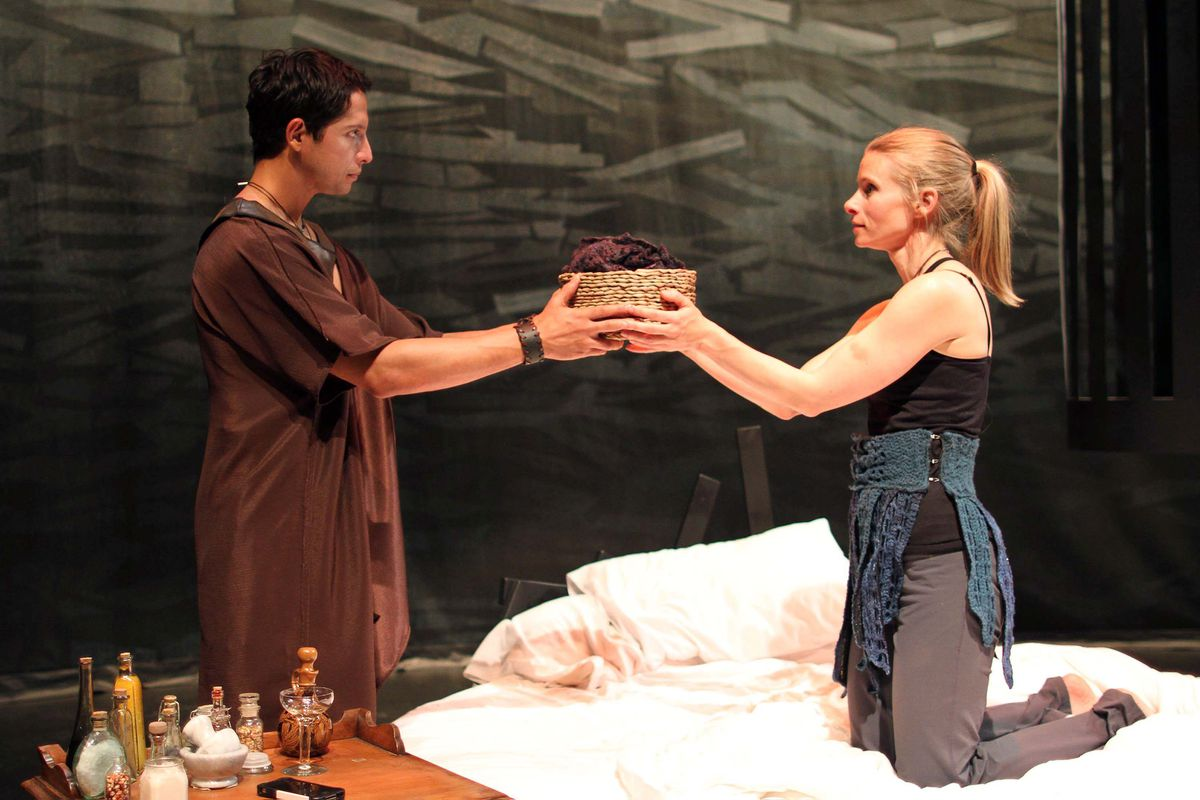 "Enrique Bravo plays Jason and Shelley Virginia plays Woman in the Perseverance Theatre production of ""Not Medea."" (Akiko Rotch)"
