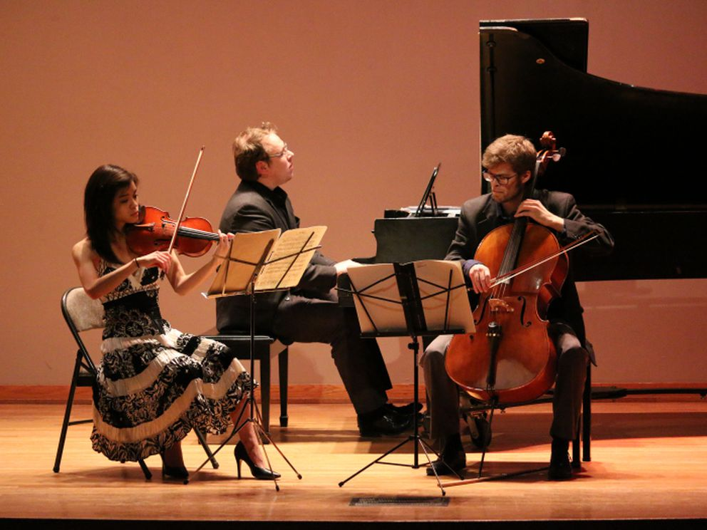 Faculty of the Anchorage Chamber Music Festival performing a trio