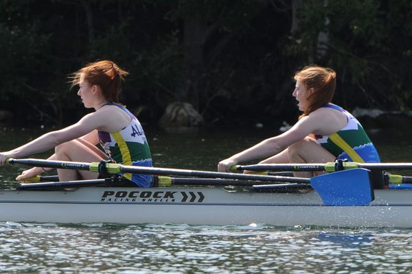 Sisters Camille Ruhlin-Hicks, 16, and Clarice Ruhlin-Hicks rowed to victory in the Women's Junior Double on the final day of the Moose Nugget Regatta at Wasilla Lake on Sunday, July 21, 2019. (Bill Roth / ADN)
