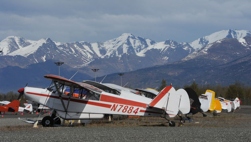 Airplanes parked at the gravel / ski strip at Merrill Field Airport on Tuesday, May 7, 2019. (Bill Roth / ADN)