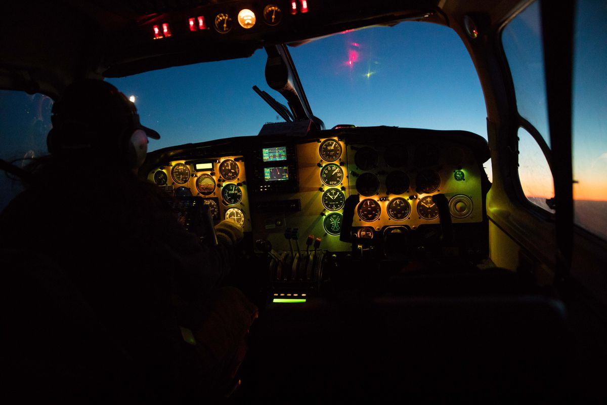 A pilot for Warbelows Air leaves Beaver en route to Fairbanks on Dec. 5. A wave of baby boomer retirements and the growth of aviation in Asia has led to a pilot shortage that is rippling across Alaska with gale force. (Ruth Fremson/The New York Times)