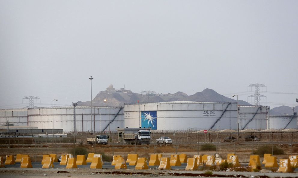 Storage tanks are seen at the North Jiddah bulk plant, an Aramco oil facility, in Jiddah, Saudi Arabia, Sunday, Sept. 15, 2019. The weekend drone attack in Buqyaq on one of the world's largest crude oil processing plants that dramatically cut into global oil supplies is the most visible sign yet of how Aramco's stability and security is directly linked to that of its owner -- the Saudi government and its ruling family. (AP Photo/Amr Nabil)