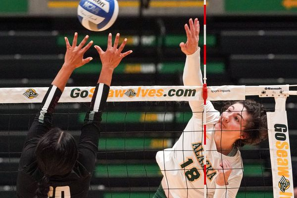 UAA's Vanessa Hayes spikes the ball Thursday, Oct. 3, 2019 during a game against the Central Washington Wildcats at the Alaska Airlines Center. (Loren Holmes / ADN)