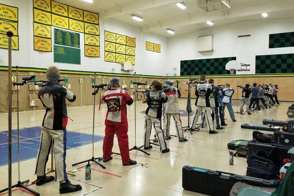 Shooters take aim at the Service High range Saturday during the Jordyn Durr Memorial Cup on Saturday, Nov. 3, 2018. (Photo by Teresa Baty)