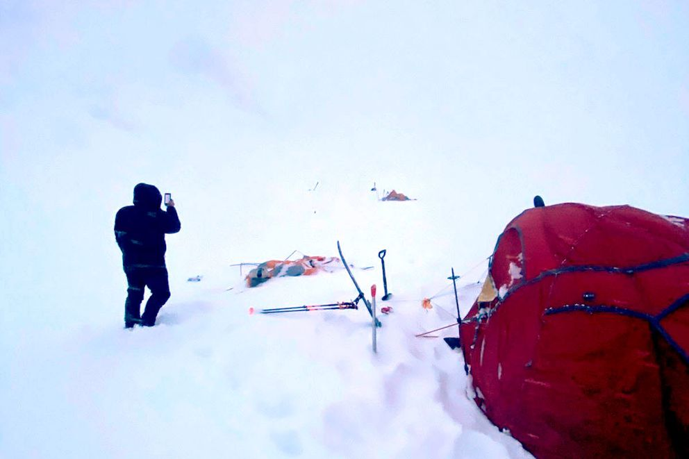 An air blast from an avalanche on Mount Neacola launched three climbers and their gear hundreds of feet on April 4, 2021. (Photo by Ryan Driscoll)