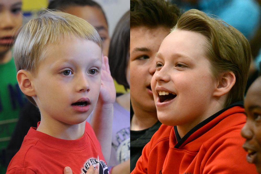 Kohl Russell - start of kindergarten in 2012 and end of 6th grade 2019, at Gladys Wood Elementary School. (Photos by Erik Hill)