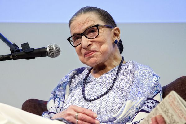 FILE - In this July 5, 2018 file photo, US Supreme Court Justice Ruth Bader Ginsburg speaks after the screening of