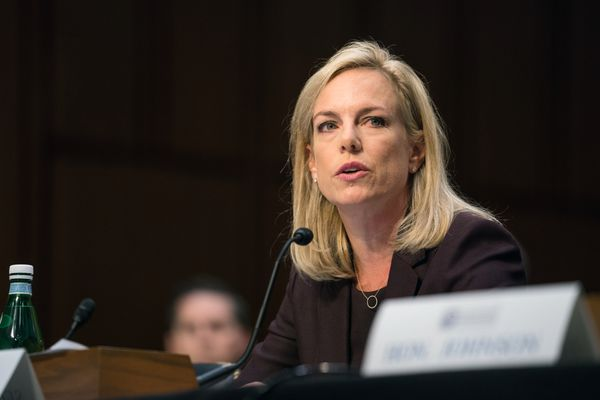 Homeland Security Secretary Kirstjen Nielsen testifies before the Senate Intelligence Committee in Washington on March 21, 2018. Nielsen told colleagues she was close to resigning after President Donald Trump berated her on Wednesday, May 9, 2018, in front of the entire cabinet for what he said was her failure to adequately secure the nation's borders, according to several current and former officials familiar with the incident. (Erin Schaff/The New York Times file)