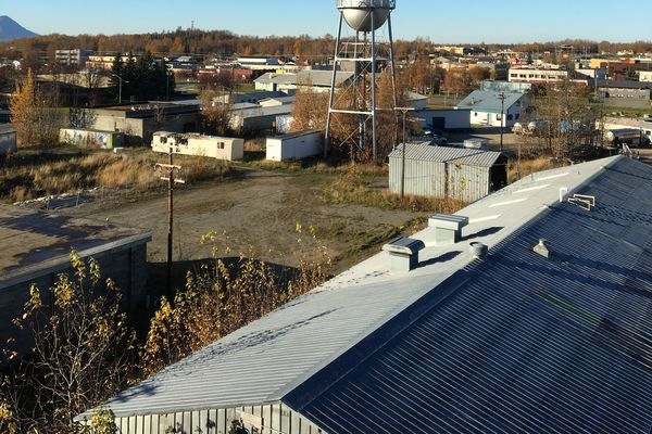 Matanuska Brewing has secured financing to buy the old Mat Maid bottling plant (foreground) in Palmer to turn it into a brewery. (Matt Tomter / Matanuska Brewing)