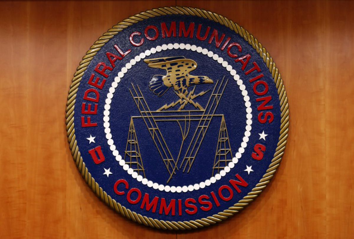 The Federal Communications Commissionlogo before a hearing on net neutrality in February 2015.REUTERS/Yuri Gripas