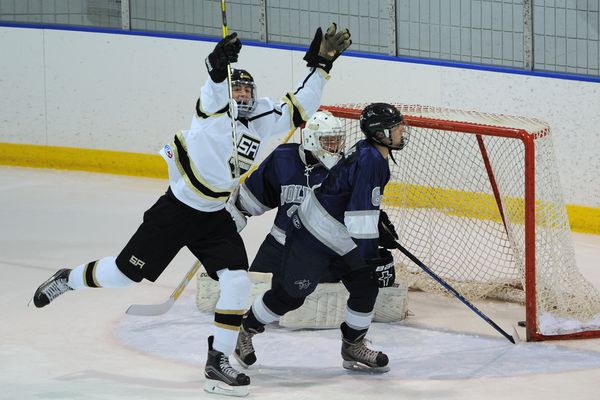 South High junior forward Hayden Fox celebrates scoring the first goal of the game en route to scoring a hat trick during the Wolverines' 5-3 victory over the Eagle River Wolves at Ben Boeke on Wednesday, Nov. 14, 2018. (Bill Roth / ADN)