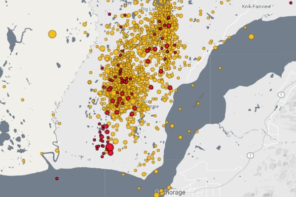 A map of recent aftershocks in Southcentral Alaska. (Alaska Earthquake Center screengrab)