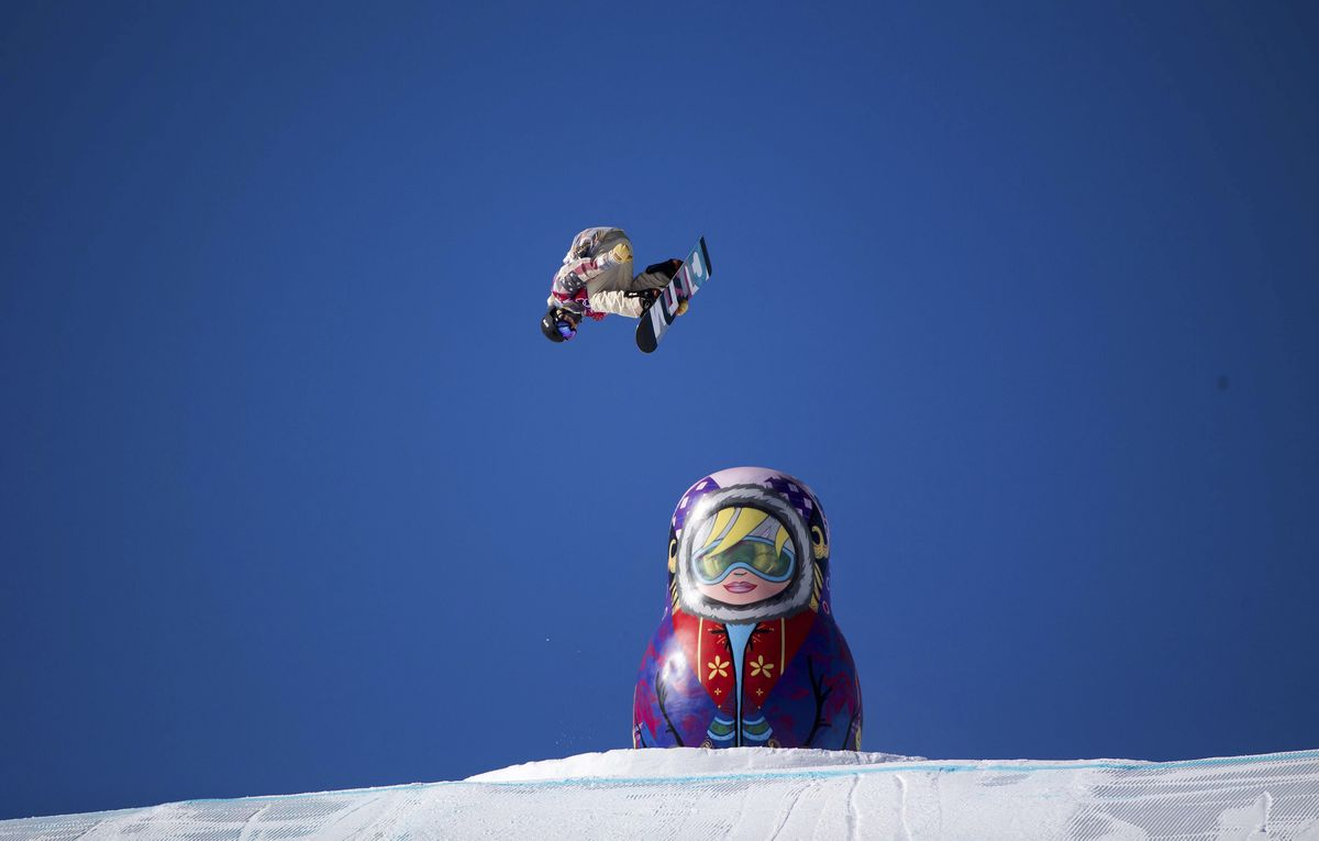 Ryan Stassel of Anchorage jumps over a big Russian doll on the course during slopestyle competition at the 2014 Winter Olympics in Sochi, Russia.  (Doug Mills/New York Times archive 2014)