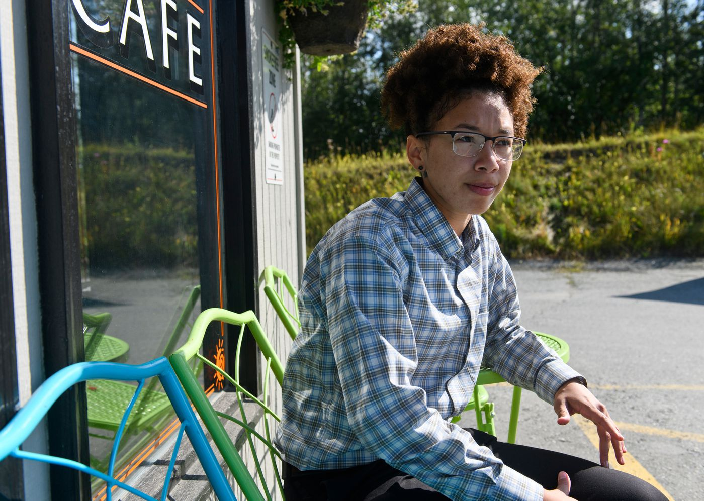 DaJonee' Hale talks about the years she spent homeless as a teen on August 13, 2020. Hale, who works as a project manager for My House Homeless Youth Center, plans to return to Germany to play professional basketball. (Marc Lester / Anchorage Daily News)