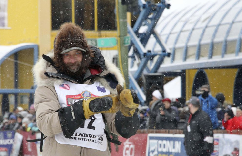 Four-time Iditarod Trail Sled Dog Race champion Lance Mackey is shown before the ceremonial start of the Iditarod Trail Sled Dog Race Saturday, March 7, 2020, in Anchorage. (AP Photo/Mark Thiessen)