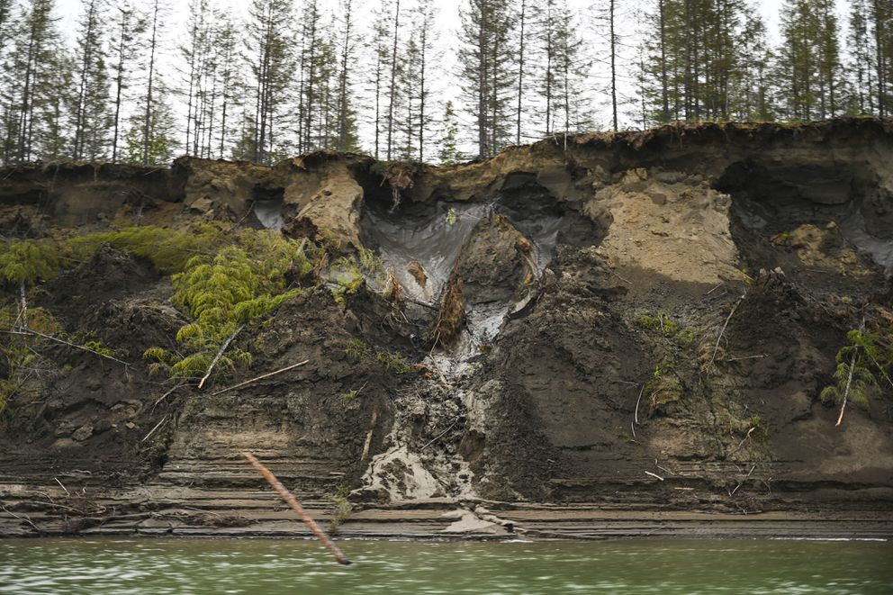 Permafrost, seen at the top of the cliff, melts into the Kolyma River outside of Zyryanka, Russia on July 4, 2019. Melting permafrost is altering Siberia's landscape and economy. (Photo by The Washington Post's Michael Robinson Chavez)