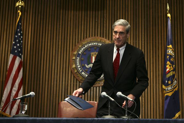 FILE -- FBI Director Robert Mueller III before a news conference on Capitol Hill, in Washington, March 9, 2007. The Justice Department has appointed Mueller to serve as a special counsel to oversee its investigation into Russian meddling in the 2016 election, Deputy Attorney General Rod Rosenstein announced on May 17, 2017. (Doug Mills/The New York Times)