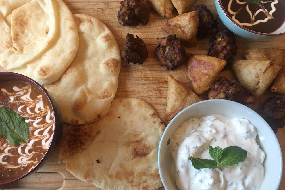 Madras lentils, naan bread, Greek yogurt dip and Indian appetizers from the freezer section at Costco. (Photo by Mara Severin)