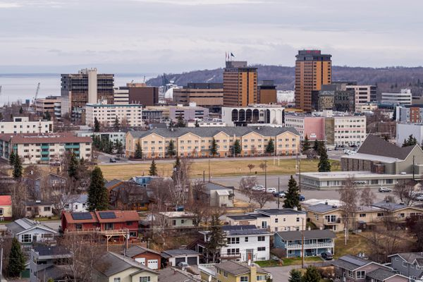 Downtown Anchorage, photographed on Wednesday, May 5, 2021. (Loren Holmes / ADN)
