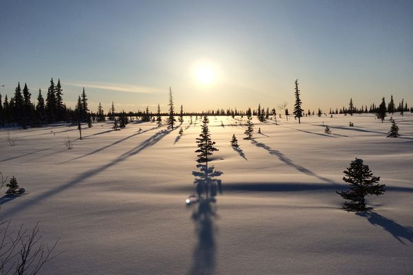 Deep snow this winter left the tundra buried into spring. (Photo by Seth Kantner) ONE TIME USE