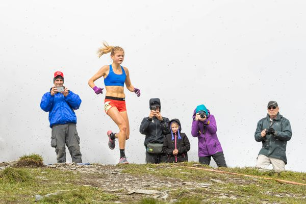 Allie Ostrander finished with the second fastest women's time on Mount Marathon during the 2017 race in Seward, July 4, 2017. (Loren Holmes / Alaska Dispatch News)