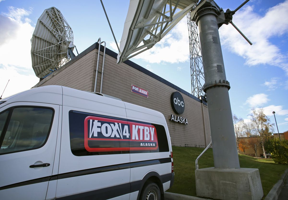 The KTBY television station office on E. Tudor Road in Anchorage on Oct. 12, 2020. (Emily Mesner / ADN)