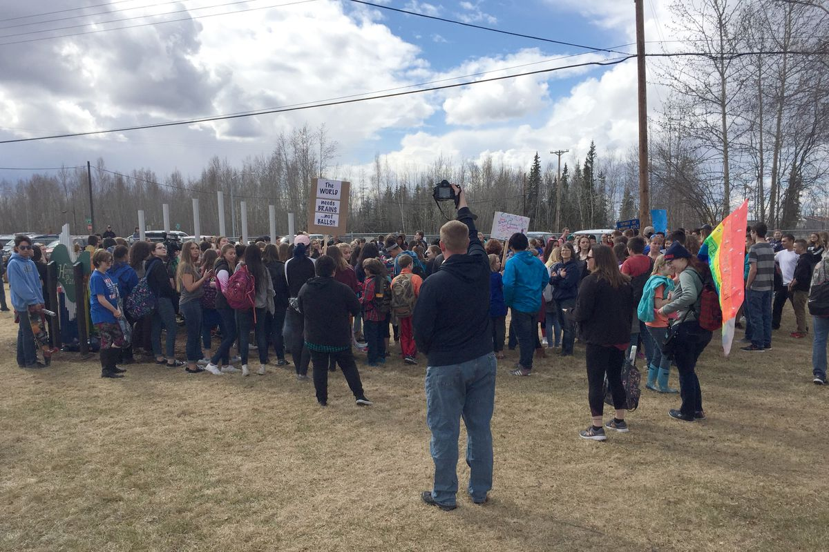 An estimated 460 students in Fairbanks and North Pole walked out of their classes Friday afternoon to rally against proposed cuts to state education funding. (Sharice Walker / Fairbanks North Star Borough School District)