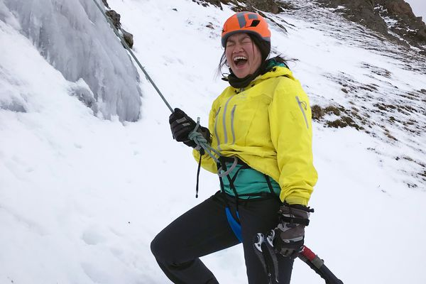 This is how I feel while ice climbing, apparently. Note how my jacket rides up over my harness — the mark of a rookie — after a climb above Black Lake in Chugach State Park on Monday, Oct. 30, 2017. (Courtesy Steven Claggett)