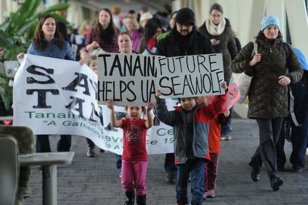 Pictured: Dozens of supporters, young and old, marched across the UAA campus on Tuesday, Feb. 10, 2015, in support of the keeping the Tanaina Child Development Center at the Wells Fargo Sports Complex where it has served the UAA community for 35 years. UAA gave Tanaina an eviction letter that terminated the center's agreement with UAA effective May 1.