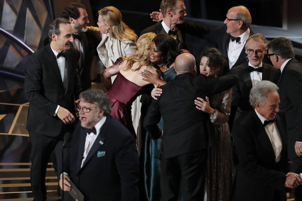90th Academy Awards - Oscars Show - Hollywood, California, U.S., 04/03/2018 - Guillermo del Toro (L) accepts the Oscar for Best Picture for